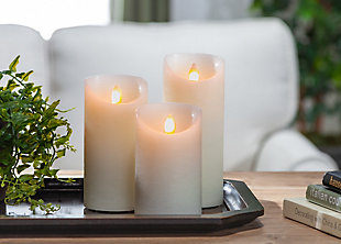Ivory LED Pillar Candles with Aurora® Flame and Remote Control (Set of 3), , rollover