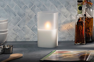 """4""""Lx4""""Wx7""""H Wax Candle in Frosted Glass with Exclusive Illumaflame™ Glow, , rollover"""