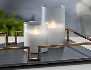 """6""""D x 6""""H Wax Candle in Frosted Glass with Exclusive Illumaflame™ Glow, , rollover"""