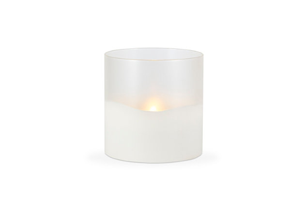"""6""""D x 6""""H Wax Candle in Frosted Glass with Exclusive Illumaflame™ Glow, , large"""