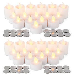 2 Sets 16-Piece of LED White Tealights and Votives With Batteries (32 Total), , large