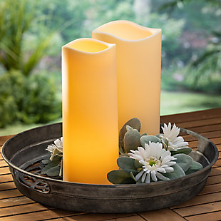 "12"" Tall Battery-Operated Ivory Flameless LED Candle with Timer Feature (Set of 2), , rollover"