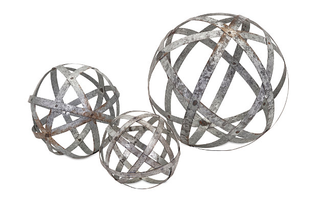 Home Accents Galvanized Spheres (Set of 3), , large