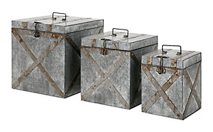 Home Accents Galvanized Trunks (Set of 3), , rollover