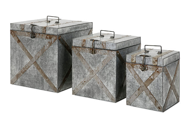 Home Accents Galvanized Trunks (Set of 3), , large