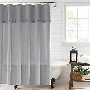 "Tucker Ticking Stripe  Button Fabric Shower Curtain, 72""x72"", Black, Black, rollover"