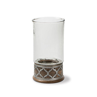 Wood and Inlay Metal Heritage Collection 15.5-Inch Tall Candleholder, , large
