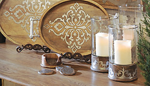 Wood and Inlay Metal Heritage Collection 12.5-Inch Tall Candleholder, , rollover