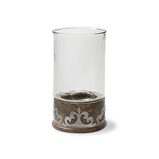 Wood and Inlay Metal Heritage Collection 12.5-Inch Tall Candleholder, , large
