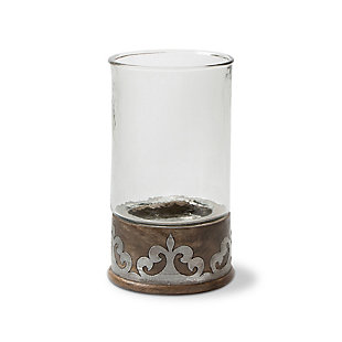 Wood and Inlay Metal Heritage Collection 16.5-Inch Tall Candleholder, , large