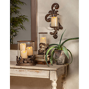 Metal Acanthus Triple Candle Holder with Glass Hurricane, , rollover