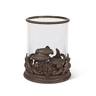 Metal Acanthus Triple Candle Holder with Glass Hurricane, , large