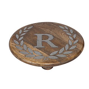 """Heritage Collection Mango Wood Round Trivet With Letter """"r"""", , rollover"""