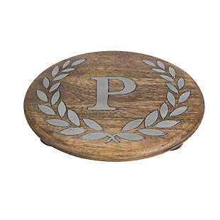 """Heritage Collection Mango Wood Round Trivet With Letter """"p"""", , rollover"""