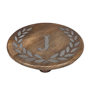 """Heritage Collection Mango Wood Round Trivet With Letter """"J"""", , large"""