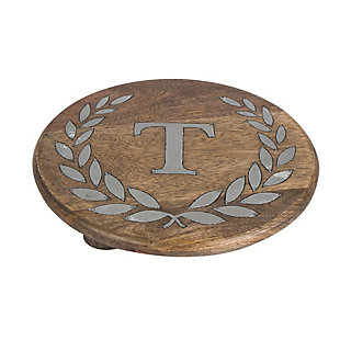 """Heritage Collection Mango Wood Round Trivet With Letter """"t"""", , rollover"""