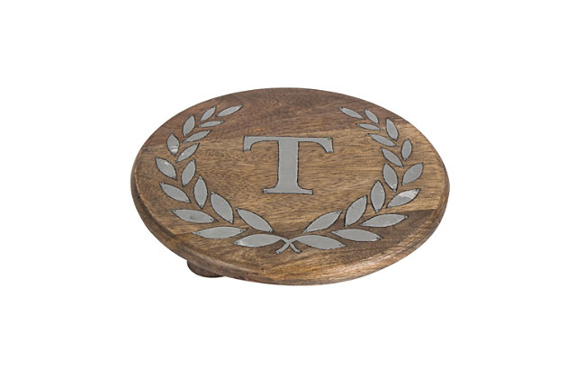 """Heritage Collection Mango Wood Round Trivet With Letter """"t"""", , large"""