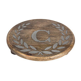 """Heritage Collection Mango Wood Round Trivet With Letter """"C"""", , rollover"""