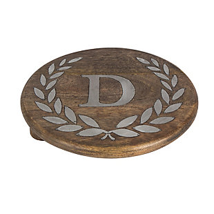 """Heritage Collection Mango Wood Round Trivet With Letter """"D"""", , rollover"""