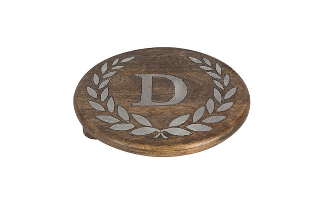 """Heritage Collection Mango Wood Round Trivet With Letter """"D"""", , large"""