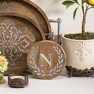 """Heritage Collection Mango Wood Round Trivet With Letter """"a"""", , rollover"""