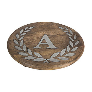 """Heritage Collection Mango Wood Round Trivet With Letter """"a"""", , large"""