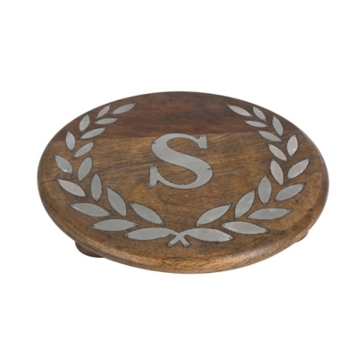 """Heritage Collection Mango Wood Round Trivet With Letter """"s"""", , large"""