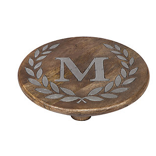 """Heritage Collection Mango Wood Round Trivet With Letter """"m"""", , rollover"""