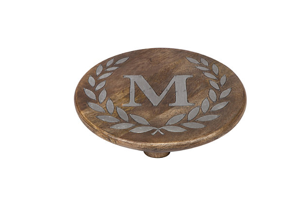"""Heritage Collection Mango Wood Round Trivet With Letter """"m"""", , large"""