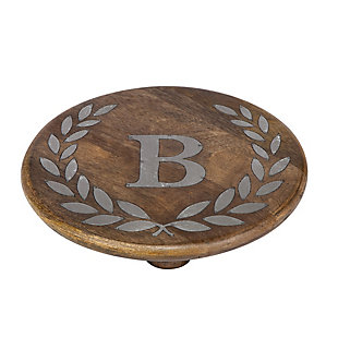 """Heritage Collection Mango Wood Round Trivet With Letter """"b"""", , rollover"""
