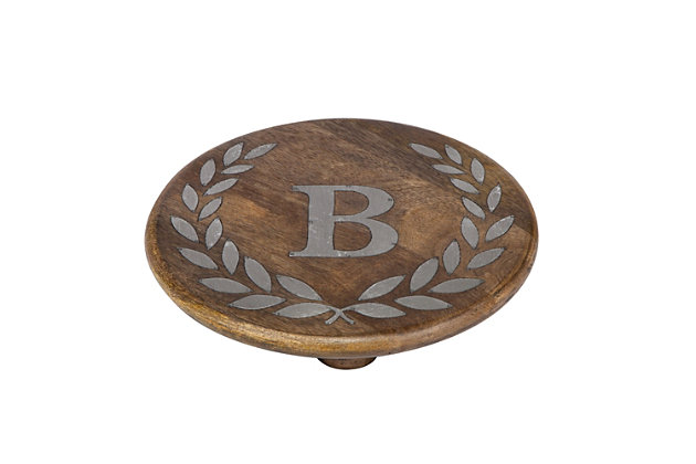 """Heritage Collection Mango Wood Round Trivet With Letter """"B"""", , large"""