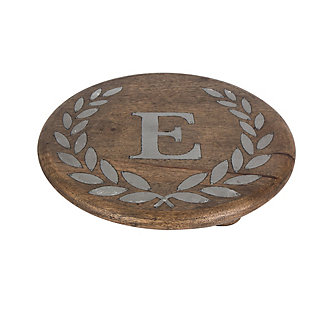 """Heritage Collection Mango Wood Round Trivet With Letter """"E"""", , rollover"""