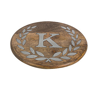 """Heritage Collection Mango Wood Round Trivet With Letter """"k"""", , rollover"""