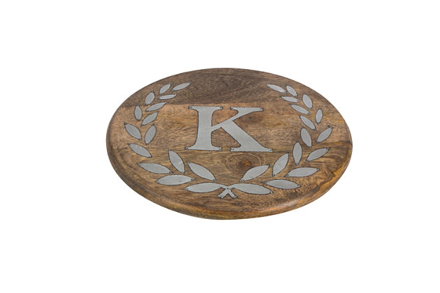 """Heritage Collection Mango Wood Round Trivet With Letter """"k"""", , large"""