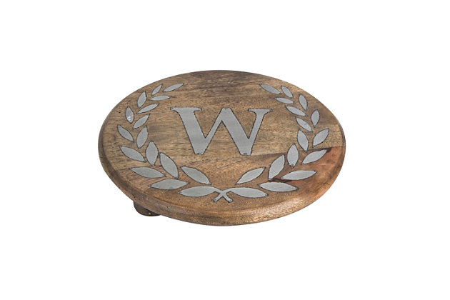 """Heritage Collection Mango Wood Round Trivet With Letter """"w"""", , large"""