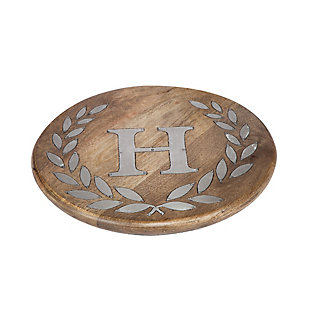 """Heritage Collection Mango Wood Round Trivet With Letter """"H"""", , rollover"""
