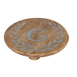 """Heritage Collection Mango Wood Round Trivet With Letter """"g"""", , rollover"""