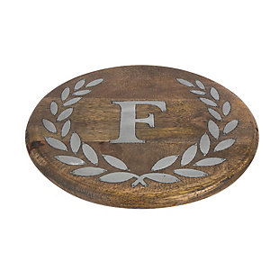 """Heritage Collection Mango Wood Round Trivet With Letter """"f"""", , large"""