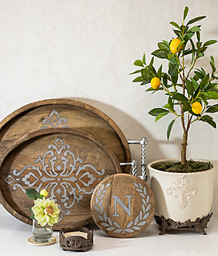 """Heritage Collection Mango Wood Round Trivet With Letter """"n"""", , rollover"""