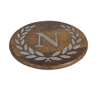 """Heritage Collection Mango Wood Round Trivet With Letter """"n"""", , large"""