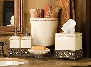 GG Small Cream Ceramic Wastebasket With Acanthus Leaf Metal Base, , rollover