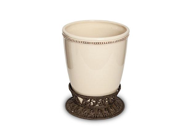 GG Small Cream Ceramic Wastebasket With Acanthus Leaf Metal Base, , large