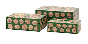 Home Accents Wood Disc Boxes (Set of 3), , rollover