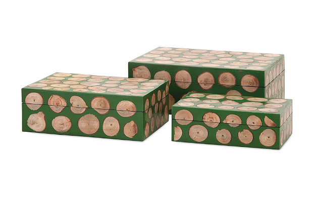 Home Accents Wood Disc Boxes (Set of 3), , large