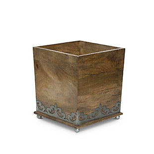 GG Wood and Metal 8.5-Inch Square  Heritage Collection Footed Wastebasket, , large