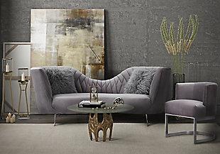 TOV Furniture Eva Velvet Chair, Gray, rollover
