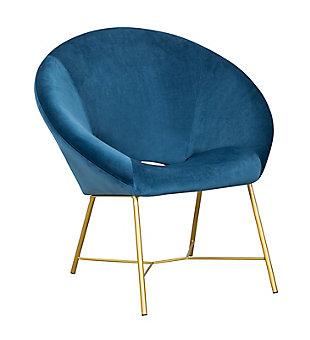 TOV Furniture Nolan Velvet Chair, Navy, large