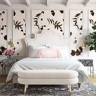 TOV Furniture Betty Velvet Bench, Cream, large