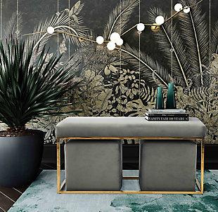 TOV Furniture Lila Tri Velvet Bench Set, , rollover