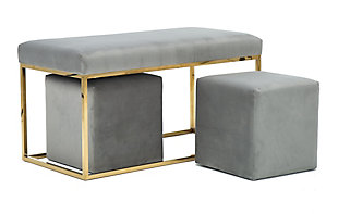 TOV Furniture Lila Tri Velvet Bench Set, , large